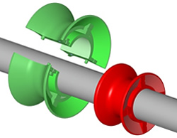 Dura-Belt Inc. Pack of 10 Dura-Belt spool-split 1x1.23 Red Split Spool for 1 LINE-Shaft Conveyors